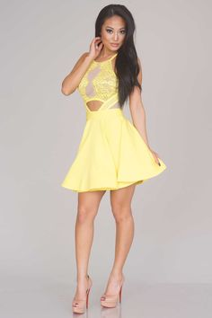 Luxor Lace Skater Dress - Yellow - New Arrivals