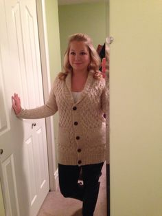 Teaching outfit for fall. Black boots and leggings, cream knit sweater.