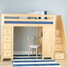 Harriet Bee Deshotel Twin Loft Bed with Drawers and Shelves Bed Frame Color: Natural Bunk Beds With Stairs, Kids Bunk Beds, Loft Bed Stairs, Loft Staircase, Loft Beds For Small Rooms, Loft Bed Plans, Bunk Bed Designs, Bed With Drawers, Loft Spaces