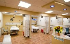 When patients over age 65 come into the emergency department at St. Mary Mercy Livonia Hospital they are triaged to a dedicated senior emergency department. Healthcare Architecture, Healthcare Design, Architecture Design, Clinic Interior Design, Clinic Design, Waiting Room Design, Restaurant Hotel, Home Care Agency, Medical Office Design