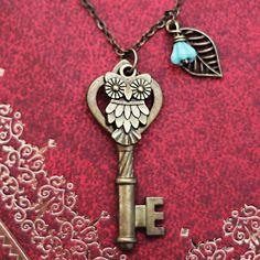 Antique Keys Owl leaf necklace,owl jewelry,Skeleton Keys,Steampunk Key Necklace on Etsy, $9.50