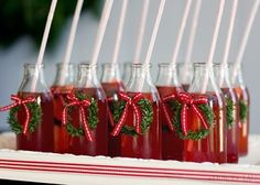 Perfect Christmas Cocktails for an office holiday party! We would go with red & white striped straws. Christmas Party Drinks, Christmas Punch, Office Holiday Party, Holiday Drinks, Noel Christmas, Christmas Goodies, Christmas Desserts, Christmas Treats, Winter Christmas