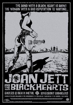 """Joan Jett and the Blackhearts with guests Eagles Of Death Metal and Riverboat Gamblers • House of Blues, Orlando FL, 11/17/06 • 22"""" x 32"""" silk screen with silver metallic ink on black paper. Edition of 230. ©2006 Greg Stainboy Reinel"""