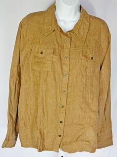 50d5f5152eb Tantrum Shirt Blouse Faux Crinkled Suede Brown XXL Plus Size Front Pocket  New  Tantrum  Blouse  Casual