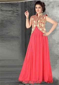 Pink & Cream Embroidered Net Semistitched Floor Length Party Wear Gown