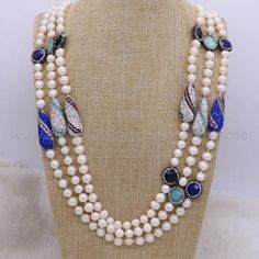 2 Strand Handcrafted Natural Pearl Necklace