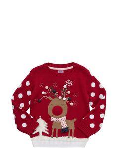 Clothing at Tesco   F&F Light Up Reindeer Christmas Jumper > knitwear > Kids' Christmas jumpers > Christmas