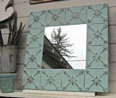 Tin Ceiling Tile Mirror. Framed ceiling tin. by DriveInService