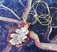Real Leave Jewelry, Triple Oak Leaf Necklace, Gold, Silver & Copper by Natures Leaves. $29.95, via Etsy.