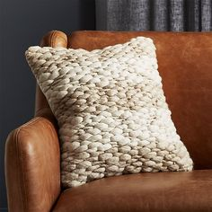 Store Millie Knit Pillow with Down-Various Insert. Tremendous tender, chunky knit pillow turns sitting right into a full-on snuggle sesh. Creamy white and heathered gray wool on one facet, strong pure White Fur Pillow, Navy Pillows, Black And White Pillows, Leather Pillow, Leather Ottoman, Wool Pillows, Pouf Ottoman, Velvet Pillows, Accent Pillows