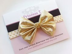 Girls/Baby Headband Gold Hair Bow w/ Gold by BowtiquebyprincessT