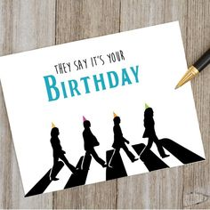 Beatles Birthday Card | Etsy 70th Birthday Parties, Father Birthday, It's Your Birthday, Husband Birthday, Themed Parties, Beatles Gifts, Beatles One, Beatles Party, Birthday Cards Images