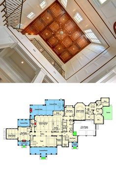 Traditional Staircase, Traditional House Plans, Decorative Wood Trim, Large House Plans, White Built Ins, Balcony Flooring, White Shiplap Wall, Interior Columns, Brick Paving