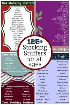 Over 125 Stocking Stuffer Ideas for All Ages! Whether you need stocking stuffers for kids, teens, or adults you will find both classic and unique stocking stuffer ideas on these lists.