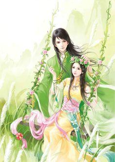 Izanami and Izanagi Chinese Drawings, Art Drawings, Art Asiatique, Art Corner, Painting Of Girl, China Art, Beautiful Drawings, Chinese Painting, Ancient Art
