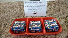 """Candy giveaway for an open house I did. """"Smart real estate advice to help you buy and sell smart (oh and smart candy too)"""" Real Estate Gifts, Selling Real Estate, Real Estate Business, Real Estate Marketing, Christmas Party Favors, Real Estate Information, Realtor Gifts, Client Gifts, Home Buying"""