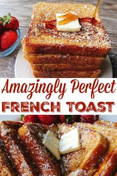 The perfect french toast recipe that is easy to make and cooks perfectly every time. Crisp and crunchy on the outside and soft on the inside! # french toast recipe Amazingly Perfect French Toast - The Mommy Mouse Clubhouse Perfect French Toast, Make French Toast, Simple French Toast Recipe, French Toast Recipes, Oven Baked French Toast, Banana Bread French Toast, Healthy French Toast, Brioche French Toast, Restaurant French Toast Recipe