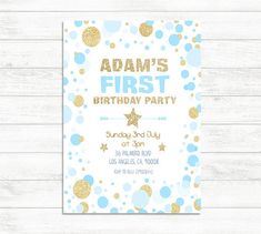 First Birthday Invitation Boy Baby blue And Gold by BaloeDesigns