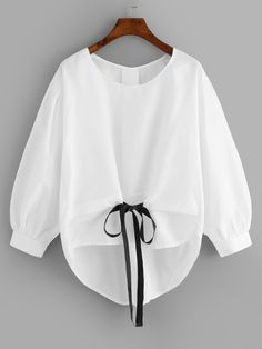 Blusa de manga farol y lazo en la cintura | ROMWE Look Fashion, Korean Fashion, Girl Fashion, Fashion Outfits, Fashion Styles, Fashion Tips, Fashion Hacks, 80s Fashion, Modest Fashion