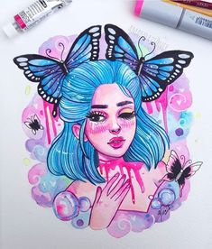 Butterflies and bubbles 🦋💙 this came out so bubblegummy pink but I'm living for it 😂 this was painted with Windsor and newton, schmincke watercolours and some copic marker too! Amazing Drawings, Cool Art Drawings, Beautiful Drawings, Colorful Drawings, Easy Drawings, Art Sketches, Amazing Art, Digital Art Girl, Marker Art