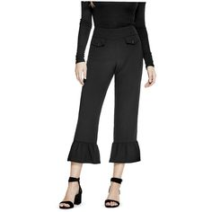 GUESS Kylee Kick Flare Pants ($89) ❤ liked on Polyvore featuring pants, ponte pants, retro pants, guess pants, side zip pants and flared pants
