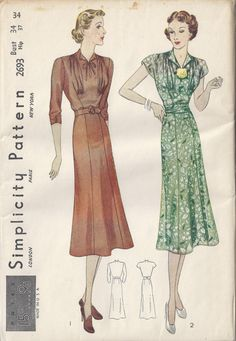 Simplicity 2693 | 1937 Women's Dress with gathered front and flared skirt