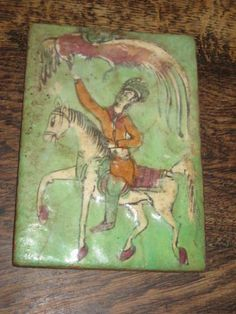 OLD MIDDLE EASTERN / PERSIAN TILE HAND PAINTED MAN ON HORSEBACK LARGE BIRD