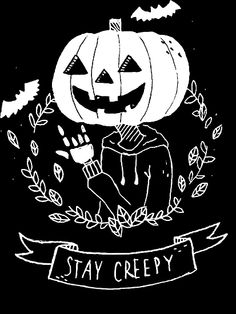 "Halloween can come once a year, but goosebumps are eternal with this ""Stay Creepy!"" by the artist Tamaghosti, available on Redbubble. of Halloween Pinner Bella Boo Quelle Bildgröße 413 x 550 Boardname Gothic Dark Creepy Cool Ansichten 3 Halloween Art, Halloween Decorations, Halloween Costumes, Halloween Pictures, Happy Halloween Quotes, Halloween Things To Draw, Cute Halloween Drawings, Halloween Tumblr, Halloween Tattoo"
