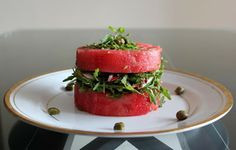 Watermelon, radish, rocket salad: ginger, mint, peanuts, capers