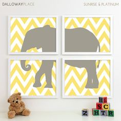 Modern Nursery Art Chevron Elephant Nursery Print, Safari Animal Kids Wall Art for Children Room Playroom, Baby Nursery Decor - Four 8x10. $50.00, via Etsy.