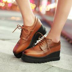 Lace Up Women Wedges Square Toe Oxfords Platform Shoes