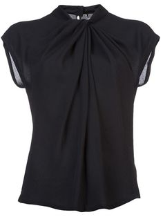Super versatile work blouse, shoulders covered, but the design is slightly unexpected with the gathering at the neck.