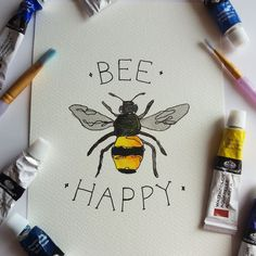 This Bee Happy print would brighten up any home, bedroom wall or office! : This Bee Happy print would brighten up any home, bedroom wall or office! Bee Painting, Painting & Drawing, Wall Drawing, Watercolor Cards, Watercolor Illustration, Watercolour Art, Sketch Note, Bee Sketch, Bee Drawing