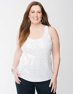 Our soft knit tank goes glamorous with two-toned swirls of sparkling sequins! Gorgeous alone or layered, it adds the perfect touch of shine to everything from jeans to dressy skirts. Flattering scoop neck and wide straps are trimmed with trendy raw edges for a lightly-deconstructed vibe. sonsi.com