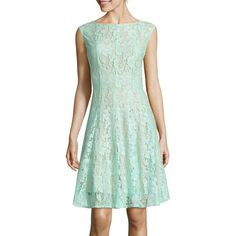 Danny & Nicole Sleeveless Lace Vertical Seam Fit-and-Flare Dress,... ($14) ❤ liked on Polyvore featuring dresses, lining sleeveless dress, shirred dress, sleeveless lace dress, sleeveless fit and flare dress and ruching dress