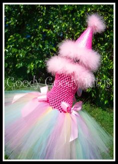 CONFETTI AND SPRINKLES Rainbow Colored Tutu Dress with Matching Glittery Party Hat - Perfect for 1st Birthday