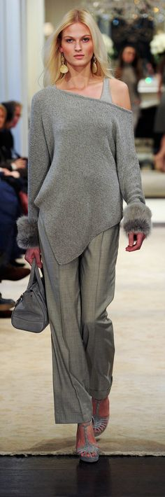 Ralph Lauren Pre-Fall 2014 RTW - casual afternoon set grey knitted pullover with grey panths