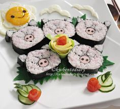Bento#July22~Sleepy Piggy Sushi Lunch.  Anything piggie related - from pig products to animal photos! I like pigs