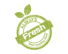Fresh Food Stamp Logo design - This logo is great for vegetarian site, diet blog, fruit and vegetable distributor, grocery store, organic products, summer festival, fruit
