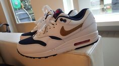 White/blue/gold leather air max 1