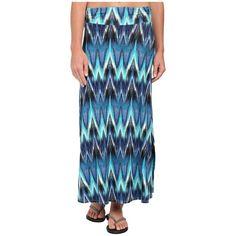 Aventura Clothing Nevis Maxi Skirt (Mosaic Blue) Women's Skirt ($72) ❤ liked on Polyvore featuring skirts, blue tie dye maxi skirt, maxi skirts, blue tie dye skirt, straight skirt and aventura