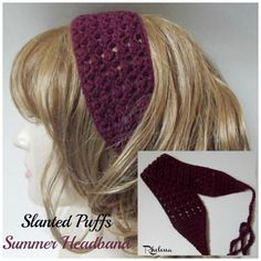 Slanted Puffs Summer Headband ~ FREE Crochet Pattern Crochet Headband Pattern, Crochet Hooks, Free Crochet, Knit Crochet, Crochet Headbands, Easy Crochet, Kool Aid, Crochet Designs, Crochet Patterns