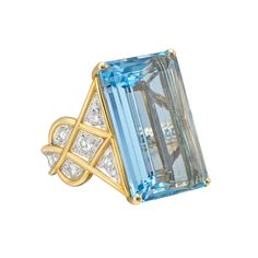 Estate Cartier Aquamarine & Diamond Cocktail Ring    Large aquamarine cocktail ring, composed of an approximately 28.00 carat emerald-cut aquamarine center stone, surrounded by circular-cut diamonds set in 18k white gold, mounted in 18k yellow gold, size 6 3/4, circa 1970, signed Cartier, numbered 105892.