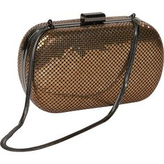 Whiting and Davis Mesh Minaudiere Clutche ($210) ❤ liked on Polyvore featuring bags, handbags, clutches, evening bags, metalic, evening handbags, brown handbags, handbags & purses, minaudiere purse and man bag