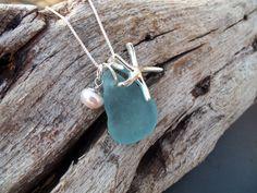 Sea glass jewelry  Aqua blue sea glass with by FatCatsOnTheBeach, $53.00