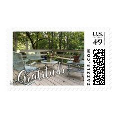 Gratitude in Beautiful Script w/ Cozy Patio Photo Postage - outdoor gifts unique cyo personalize