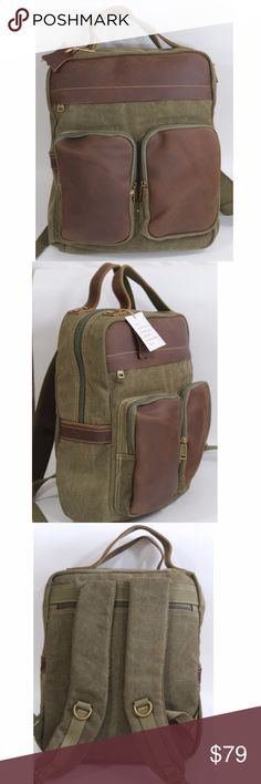 "Men Backpack Tanned Leather Top Handle Laptop Bag This practical and classic backpack bag made by hand from durable canvas and tanned cow leather. Suitable for work, study. 15' H X 14""W X 4""D. Able to fit a 15 inch Macbook Pro Retina/Air, the new 12 inch Macbook, any laptop up to 15 inch. Two front pockets have spacious space for phones, kindle, small notebook, pens and accessories and accessories. R&R Leather Bags Backpacks"