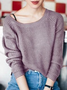 SHARE & Get it FREE | Boat Neck Loose Sweater - PurpleFor Fashion Lovers only:80,000+ Items • New Arrivals Daily Join Zaful: Get YOUR $50 NOW!