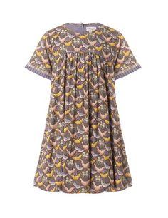 Printet kjole med balloneffekt - Lavendel