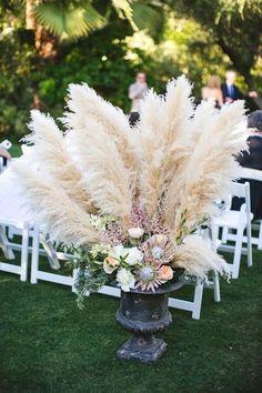 Parker Palm Springs wedding decor - Photo by EP Love Wedding Arrangements, Wedding Bouquets, Flower Arrangements, Floral Arrangement, Grass Centerpiece, Centerpiece Ideas, Centerpieces, Floral Wedding, Wedding Flowers
